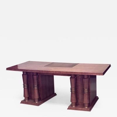 Jules Leleu French Art Deco Large Mahogany Kneehole Desk