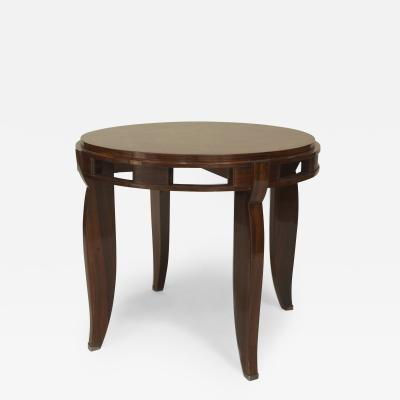 Jules Leleu French Art Deco Round Rosewood End Table
