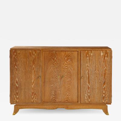 Jules Leleu French Limed Oak Cabinet attrib to Leleu France c 1940