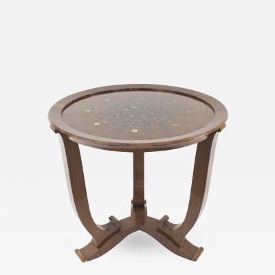 Jules Leleu French Mid Century Rosewood Round End Table