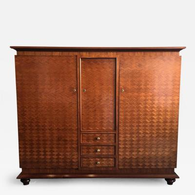 Jules Leleu French Parquetry Cabinet Armoire by Jules Leleu