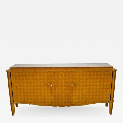 Jules Leleu Important French Bronze Walnut Parquetry Mother of Pearl Credenza Jules Leleu