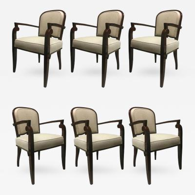Jules Leleu Jules Leleu Chicest Rare Set of Six Dining Chairs Newly Covered