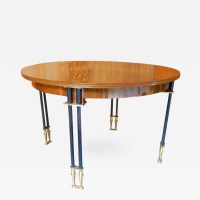 Jules Leleu Jules Leleu Documented 1950s Design Round Extendable Dining Table