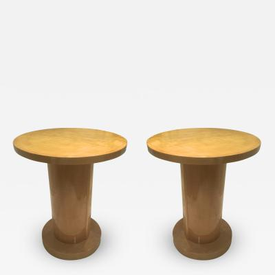 Jules Leleu Jules Leleu Pair of Charming Sycamore Cylinder Coffee Table or Side Tables