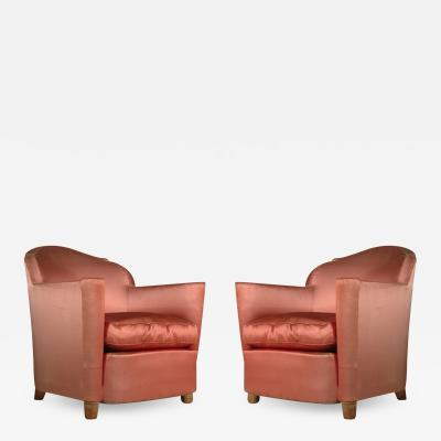 Jules Leleu Jules Leleu Pair of Club Chairs Normandie Model