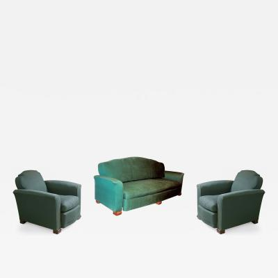 Jules Leleu Jules Leleu Seating Suite Sofa and Pair of Club Chairs
