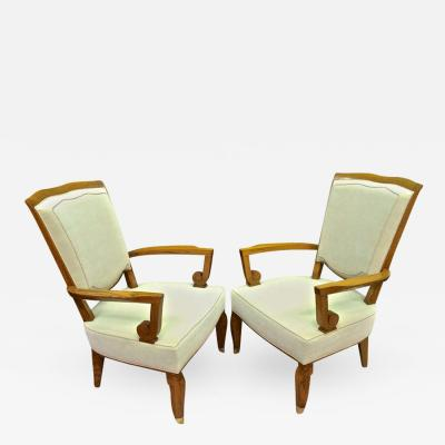 Jules Leleu Jules Leleu Stamped 1940s Majestic Pair of Large and Comfortable Pair of Chair