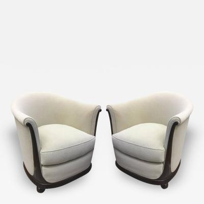 Jules Leleu Jules Leleu Stamped Rarest Pair of Early Art Deco Chairs Newly Covered in Mohair