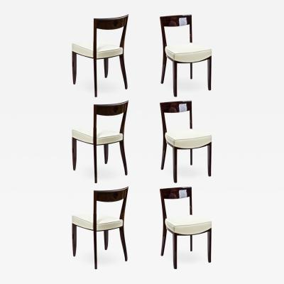 Jules Leleu Jules Leleu exceptional set of 6 curved mahogany dinning chairs