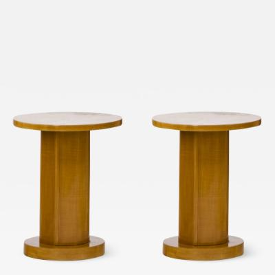 Jules Leleu Jules Leleu pair of sycamore rosewood coffee table or side table
