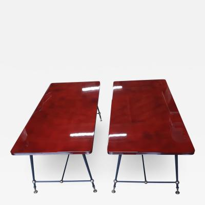 Jules Leleu Jules Leleu stamped pair of Red nuag lacquered coffee table with metal legs
