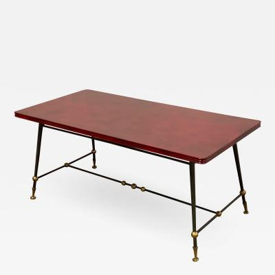 Jules Leleu Jules Leleu stamped red nuag lacquered coffee table with metal base