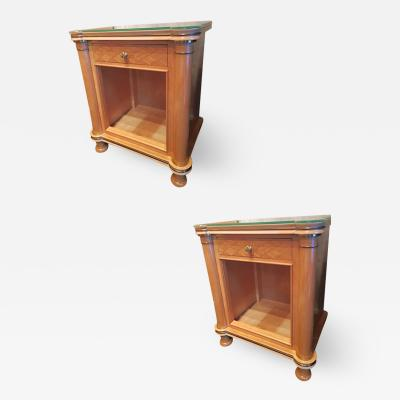 Jules Leleu Jules Leleu stamped refined pair of sycamore nightstand