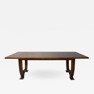 Jules Leleu LARGE FINE FRENCH ART DECO WALNUT DINING TABLE BY LELEU