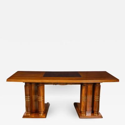 Jules Leleu Mahogany Art Deco Desk by Jules Leleu