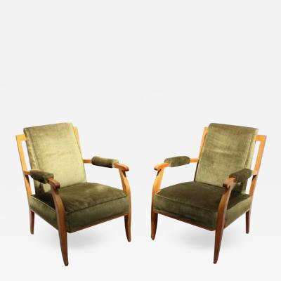 Jules Leleu PAIR OF FINE FRENCH ART DECO CHERRY ARMCHAIRS BY JULES LELEU