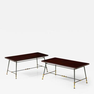 Jules Leleu Pair of 1960s side tables by Jules Leleu