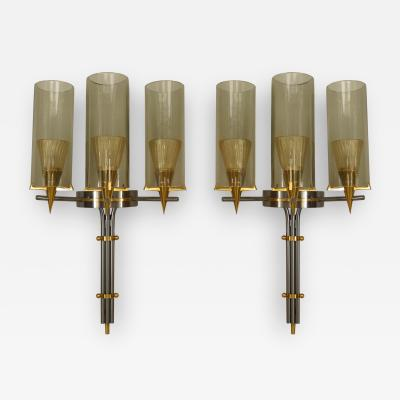 Jules Leleu Pair of French 1940s Steel and Brass 3 Arm Wall Sconces
