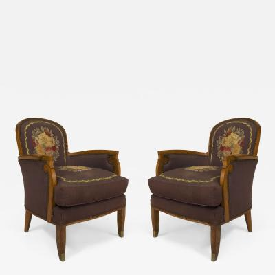 Jules Leleu Pair of French Art Deco Armchairs Bergeres with Tapestry Upholstery