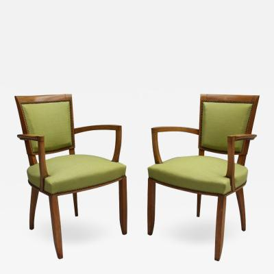 Jules Leleu Pair of French Art Deco Bridge Chairs by Jules Leleu