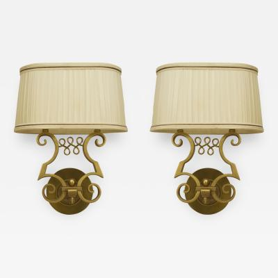 Jules Leleu Pair of French Art Deco Gilt Metal 2 Arm Wall Sconces