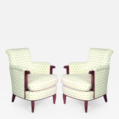 Jules Leleu Pair of French Art Deco Mahogany Bergere Armchairs
