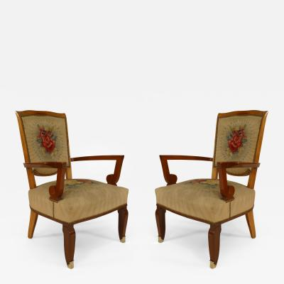 Jules Leleu Pair of French Art Deco Mahogany Open Armchairs