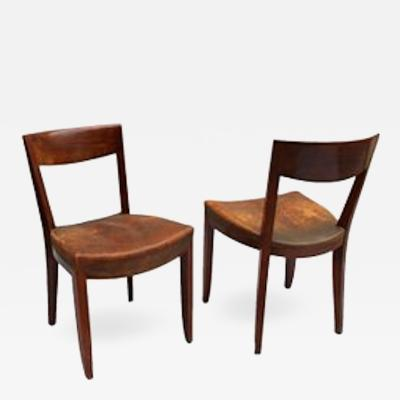 Jules Leleu Pair of French Art Deco Side Chairs by Jules Leleu