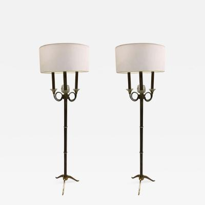 Jules Leleu Pair of French Modern Neoclassical Brass and Crystal Floor Lamps Jules Leleu
