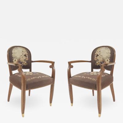 Jules Leleu Pair of Leleu French Art Deco Arm Chairs