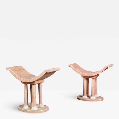 Jules Leleu Pair of stool by Jules Leleu in pink Galuchat French Art Dec 1930