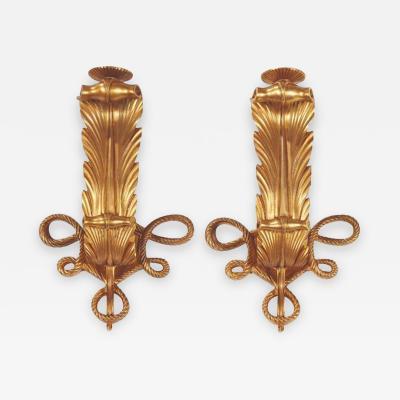 Jules Leleu Rare and elegant pair of art deco gilt bronze sconces by Jules Leleu