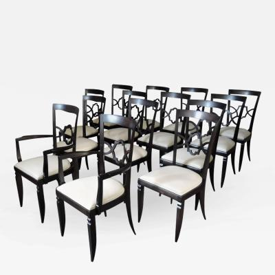 Jules Leleu Set of 12 French Art Deco Side and Two Arm Dining Chairs
