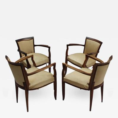 Jules Leleu Set of 4 Fine French Art Deco Walnut Bridge Armchairs by Jules Leleu