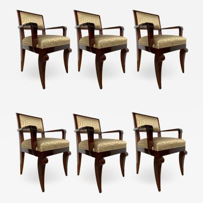 Jules Leleu Set of 6 French Late Art Deco Amboyna Dining Armchairs Jules Leleu