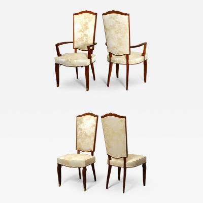 Jules Leleu Set of Dining Room Chairs and Armchairs by Jules Leleu 1946