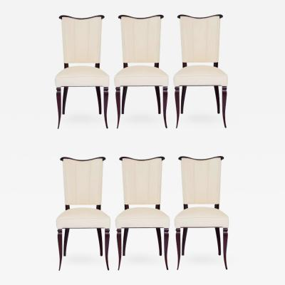 Jules Leleu Set of Six Jules Leleu Style Art Deco Dining Room Side Chairs in Ultra Suede