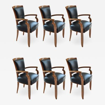 Jules Leleu Set of Six Oceanliner Armchairs by Jules Leleu