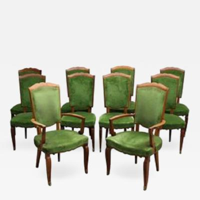 Jules Leleu Set of Ten Fine French Art Deco Chairs by Leleu Eight Side and Two Arm