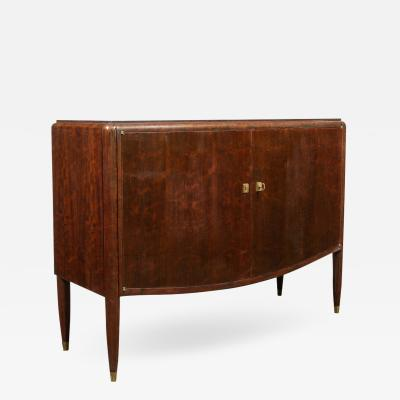 Jules Leleu Signed Jules Leleu Art Deco Directoire Style Burled Bookmatched Acacia Cabinet