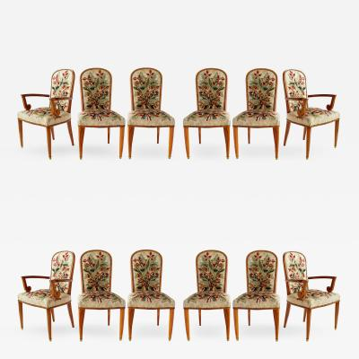 Jules Leleu Superb Set of 12 French Modern Fruitwood Tapestry Dining Chairs