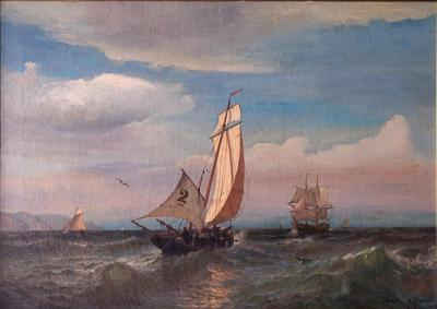 Julian O Davidson Oil on Canvas of a Regatta on a Choppy Sea