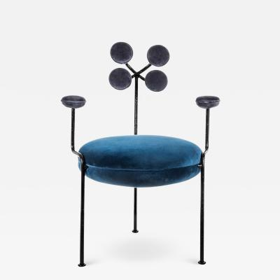 Juliana Lima Vasconcellos Contemporary Chair in Hand Hammered Iron and Uhpolstered by Juliana Vasconcellos