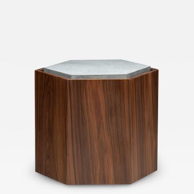 Juliana Lima Vasconcellos Contemporary Stool Side Table in Wood and Stone