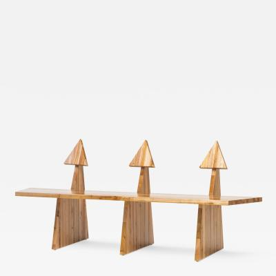Juliana Lima Vasconcellos Contemporary Trio Bench 2 in Solid African Mahogany Wood Panels Brazilian Design