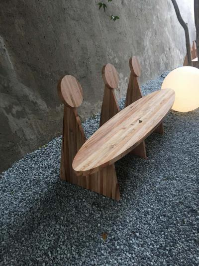 Juliana Lima Vasconcellos Contemporary Trio Bench in Solid African Mahogany Wood Panels Brazilian Design