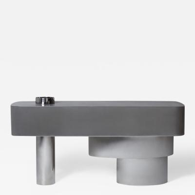 Juliana Lima Vasconcellos e Matheus Barreto Contemporary Futuristic Console Table in Stainless Steel