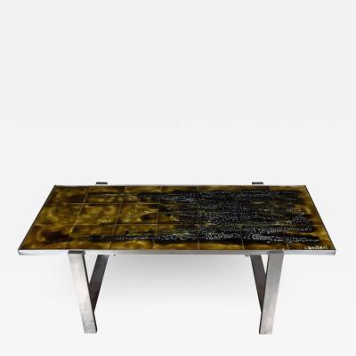 Juliette Belarti Mid Century Modern Ceramic Tile and Polished Aluminium Coffee Table by J Belarti