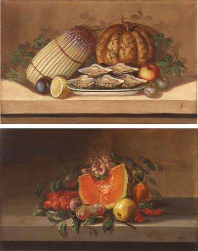 Juliette Felix Juliette Felix 1869 French Two Still Lifes with Fruit and Vegetables